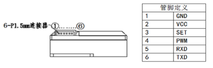 GDS06红外PM2.5传感器连接器输出接线图