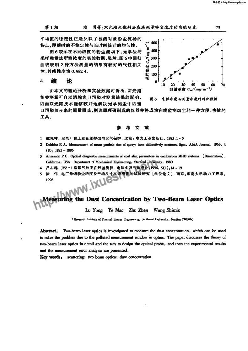 双光路光散射法在线测量粉尘浓度的实验研究-P5
