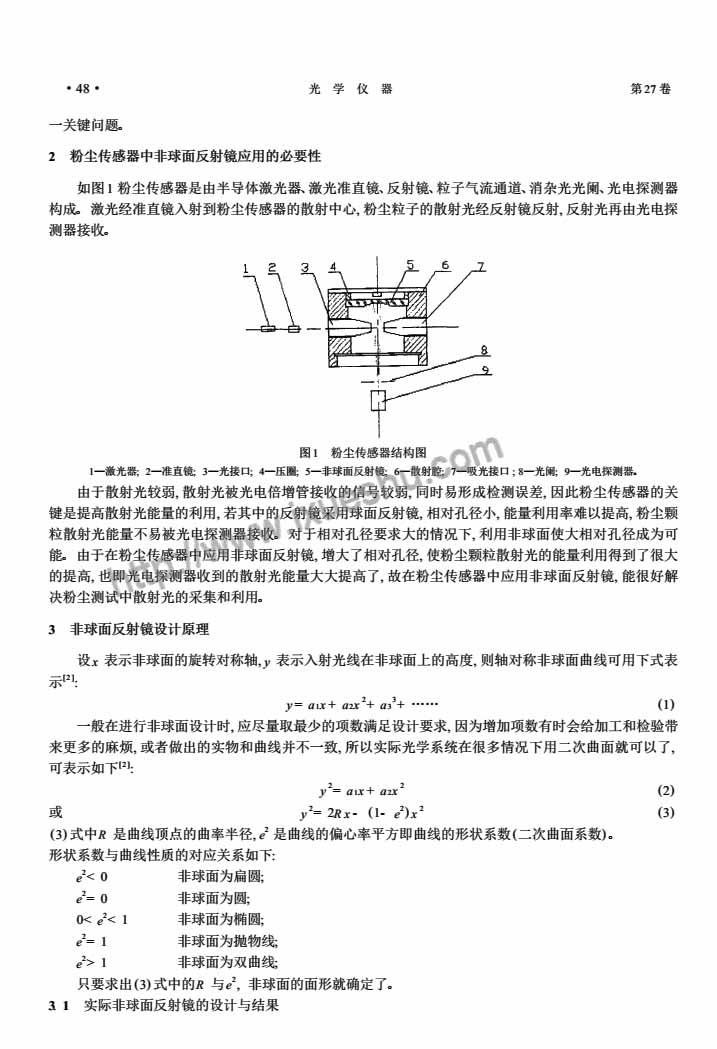 粉尘传感器中非球面反射镜的应用与设计-P2