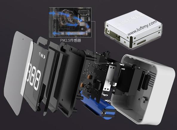 内置PM2.5颗粒传感器的便携式PM2.5检测仪