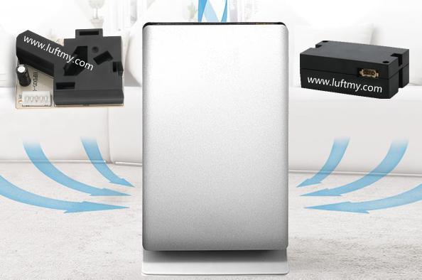内置红外粉尘传感器和激光PM2.5传感器的空气净化器